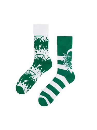 Spalvotos kojinės Žalia Balta